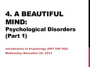 Lecture 22 - Disorders Part 1 Nov.19.13 (online)