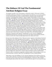 The Holiness Of God The Fundamental Attribute Religion Essay.docx
