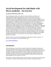 Social development for individuals with Down syndrome