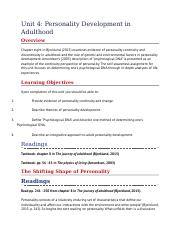 Unit 4- Personality Development in Adulthood .docx