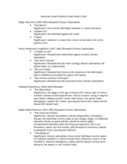 American Letters Midterm Exam Study Guide