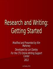 Research and Writing Getting Started
