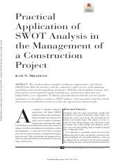 Practical Application of SWOT analysis in the management of a construction project.pdf