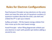 Rules for Electronic Configurations