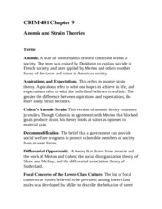 CRIM 481 Anomie and Strain Theories