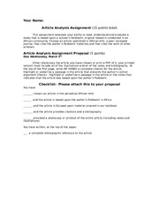 article assignment proposal checklist