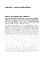 Contract Law Case Study of Hotel.docx