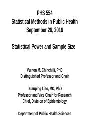 PHS 554 (2016_09_26 - Statistical Power and Sample Size)