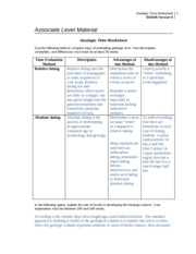 SCI 245 Week 3 Geologic Time Worksheet
