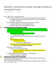 Module 6- Syndicated Lending, Leverage Lending, and Leveraged Finance