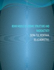 BOHR MODLE OO ATOMIC STRUCTURE AND RADIOACTVITY