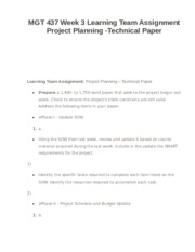MGT 437 Week 3 Learning Team Assignment Project Planning -Technical Paper