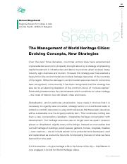 Week 3-Engelhardt The management of world heritage cities - evolving concepts and new strategies 200