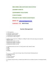 MBA ASSIGNMENT - SYSTEM MANAGEMENT , OPERATING SYSTEMS.docx