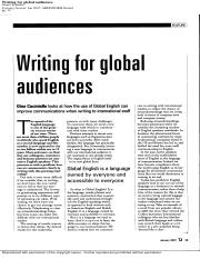 Writing for Global Audiences