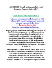 ASH ESE 601 Week 3 Assignment Universal Learning Characteristics NEW.doc