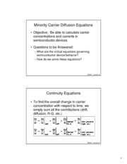 Lecture 10 - Minority Carrier Diffusion Equations