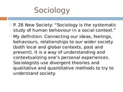 Week 2 Lecture Slides - Sociological Imagination Sociological Theories