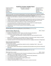 Resume example - Science