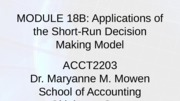 Module 18B-Applications of SR decision making