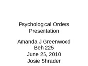Psychological Orders Presentation