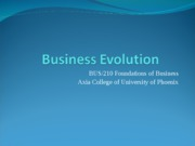 Week 2 Assignment Evolution of business