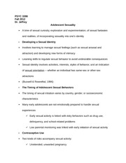 PSYC 3398 Notes on Adolescent Sexuality