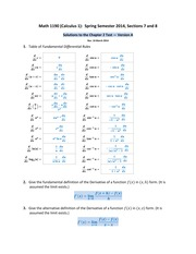Math 1190 -- Solutions to the Chapter 2 Test -- version A