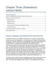 Chapter Three (Federalism) Lecture Notes.pdf