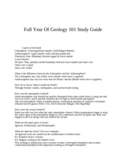 Full Year Geology 101 Study Guide