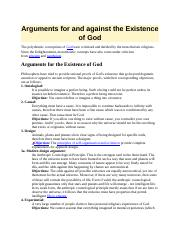 Arguments for and against the Existence of God.docx