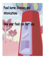 Food borne infections and intoxications Spring 2016