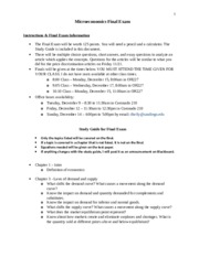 Final Exam Study Guide and Information for fall 2014