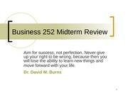 Business 252 Midterm Review