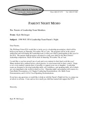 Parent Night memo