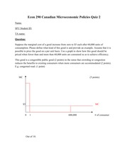 ECON 290 Fall 2011 Quiz 2 Solutions