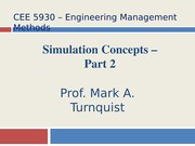 CEE 5930 Simulation Concepts - Part 2 -- Fall 2014