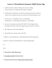 Worksheets Conditional Statement Worksheet With Answers chapter 2 conditional statements notes lesson 1 pages homework answer key 2013