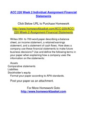 ACC 220 Week 2 Individual Assignment Financial Statements