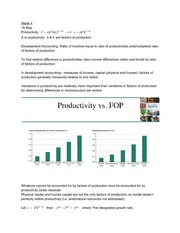 ECON431 Class Notes Week 4 - Solow Model with Productivity and Technology