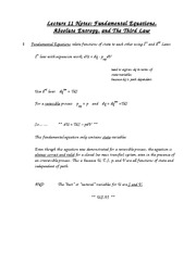 Lecture 11 Notes Fundamental Equations, Absolute Entropy, and The Third Law