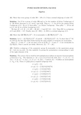 Abstract Algebra Exam Study Guide Fall 2012