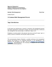 Note - Risk Management Process