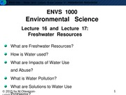 W2015-Lecture 16 and 17-Freshwater Resources-posted