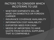 Topic 7.1 Incoterms 2010 Description