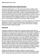 Institutional Effectiveness in Higher Education Research Paper Starter - eNotes