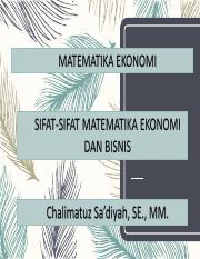1 Sifat Sifat Matematika Ekonomi Dan Bisnis Ppt Matematika Murni Matematika Ekonomi Matematika 1 Murni 2 Terapan A Matematika Ekonomi B Ekonometrika Course Hero