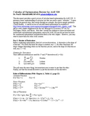 Calculus of Optimization Review