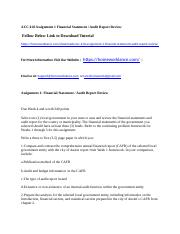 ACC 410 Assignment 1 Financial Statement   Audit Report Review.docx