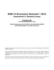 BSB113  research summary and CRA 2016 sem 1 v1